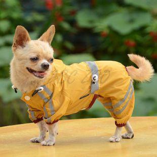 Fényvisszaverő esőkabát kutyáknak - sötétsárga, S