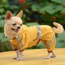 Fényvisszaverő esőkabát kutyáknak - sötétsárga, M