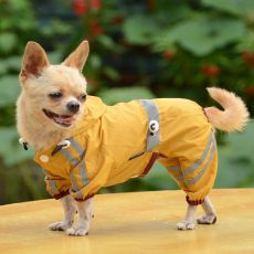 Fényvisszaverő esőkabát kutyáknak - sötétsárga, XL