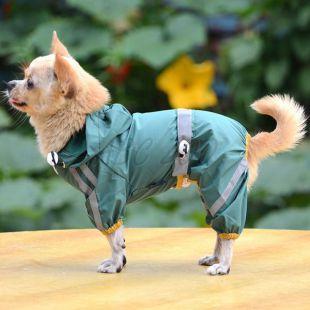 Fényvisszaverő esőkabát kutyáknak - sötétzöld, XS