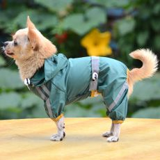 Fényvisszaverő esőkabát kutyáknak - sötétzöld, S