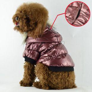 Viharkabát kutyáknak - tollas, bordó, L