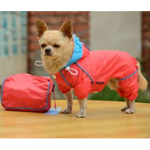Esőkabát kutyáknak táskában - rózsaszín, XL