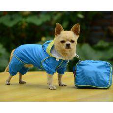 Esőkabát kutyáknak táskában - kék, XS