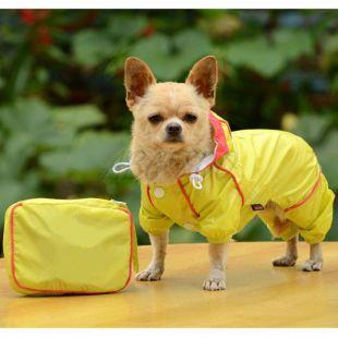 Esőkabát kutyáknak táskában - sárga, L