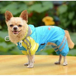 Esőkabát kutyáknak lány mintával - kék, L