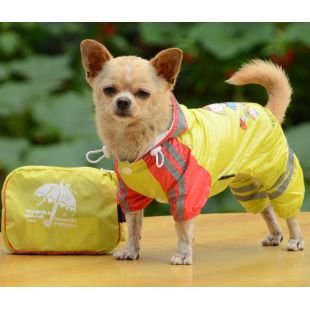 Esőkabát kutyáknak lány mintával - sárga, S