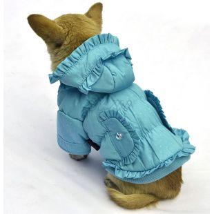 Kutyakabát - pöttyös, kék, XS