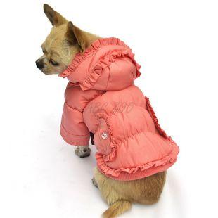 Kutyakabát - pöttyös, barackrózsaszín, XL