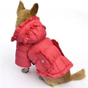 Kutyakabát - pöttyös, rózsaszín, XL