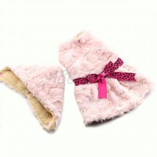 Pulóver kutyáknak - rózsaszín kapucnival és szalaggal - S