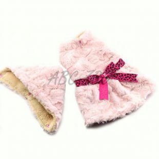 Pulóver kutyáknak - rózsaszín kapucnival és szalaggal - L