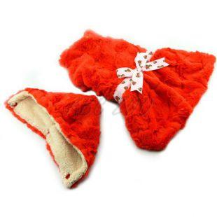 Pulóver kutyáknak - narancssárga kapucnival és szalaggal - M