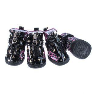 Kutyacipő - fényes leopárd mintás - rózsaszín, L
