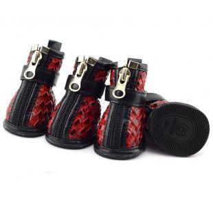 Kutyacipő - fonott minta - piros, XL