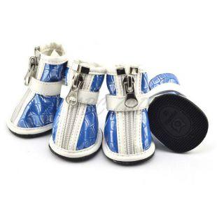 Kutyacipő - ezüst mintával, kék, XL