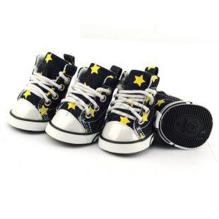 Sportcipő kutyáknak - farmer, sárga csillagokkal, S