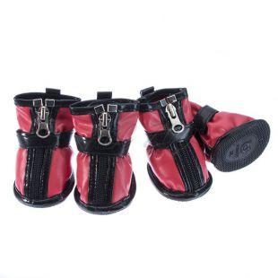Kutyacipő - tépőzáras - piros, XL