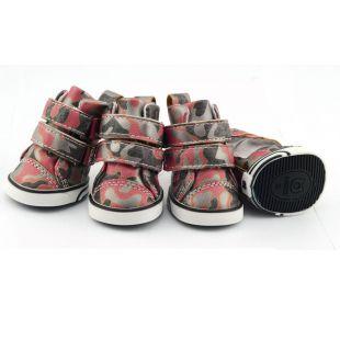 Sportcipő kutyáknak - terepmintás - piros, XS