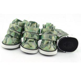 Sportcipő kutyáknak - terepmintás - zöld, L