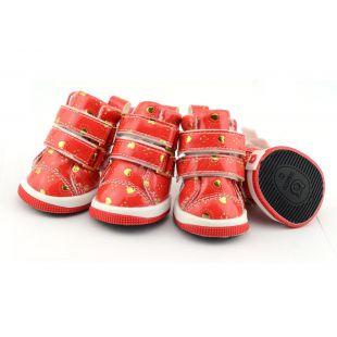 Kutyacipő - piros szívecskékkel, tépőzáras, XS