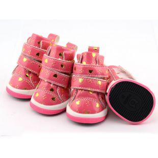 Kutyacipő - rózsaszín szívecskékkel, tépőzáras, XL
