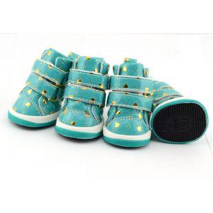 Kutyacipő - kék szívecskékkel, tépőzáras, XL