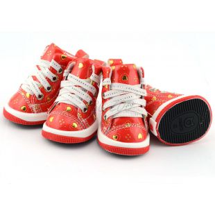 Kutyacipő - piros szívecskékkel, XL