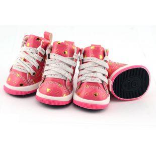 Kutyacipő - rózsaszín szívecskékkel, XS