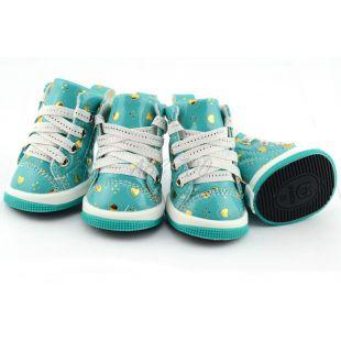 Kutyacipő - kék szívecskékkel, L