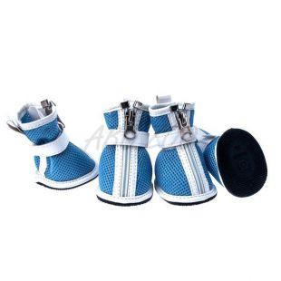 Kutyacipő - kék hálós, cipzáras, XS