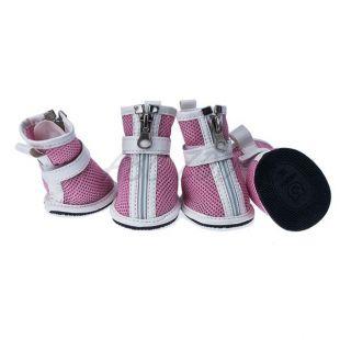 Kutyacipő - rózsaszín hálós, cipzáras,XS