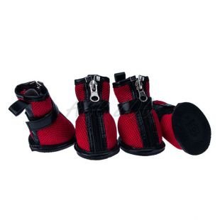 Kutyacipő - piros hálós, cipzáras, S
