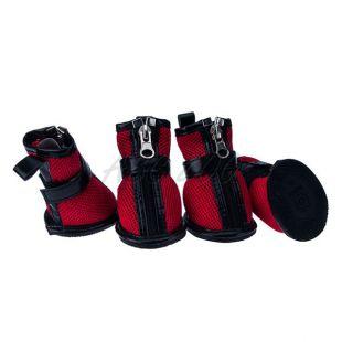 Kutyacipő - piros hálós, cipzáras, XL