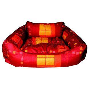 Kutyafekhely - téglalap alakú, piros, 60x45x20 cm