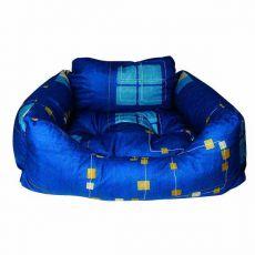 Kutyafekhely - téglalap alakú, kék, 75x60x23 cm