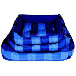 Kutyaágy - negyzet alakú, kék kockás, 60x45cm