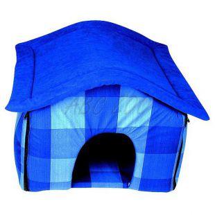 Anyag kutyaházikó - kék, 40x36x36cm