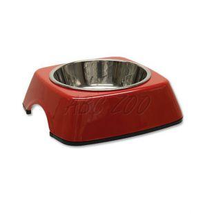 Kutyatál DOG FANTASY, négyzet alakú tálkatartóval - 0,16L, piros