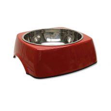 Kutyatál DOG FANTASY, négyzet alakú tálkatartóval - 1,40L, piros