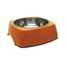 Kutyatál DOG FANTASY, négyzet alakú tálkatartóval - 1,40L,narancssárga