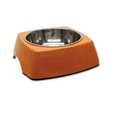 Kutyatál DOG FANTASY, négyzet alakú tálkatartóval - 0,70L,narancssárga