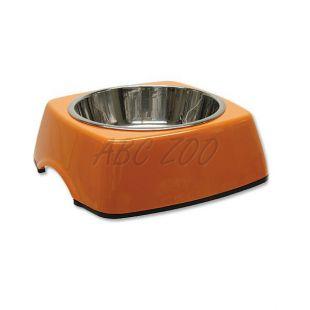 Kutyatál DOG FANTASY, négyzet alakú tálkatartóval - 0,35L,narancssárga