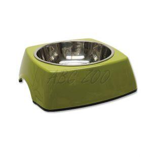 Kutyatál DOG FANTASY, négyzet alakú tálkatartóval - 0,70L, zöld