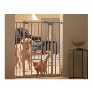 Fém akadály ajtóval kutyáknak, fém, szürke - 75-84x107 cm