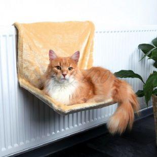 Fűtőtest ágy macskáknak, bézs plüss  – 48x26x30cm