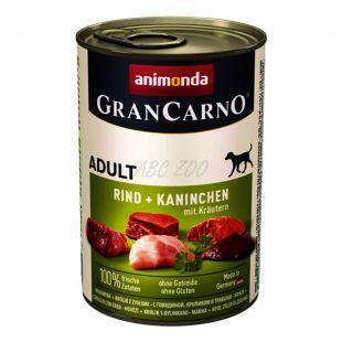 GranCarno Fleisch Adult kutyaeledel nyúl + gyógynövények  - 400 g