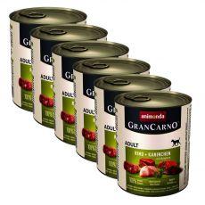 GranCarno Fleisch Adult kutyaeledel nyúl + gyógynövények - 6 x 800 g
