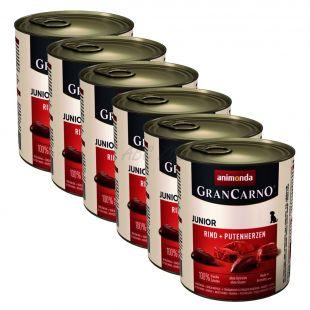 GranCarno Fleisch Junior marhahús + pulykaszív-6x800g