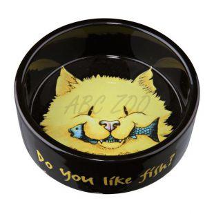 Tál macskáknak, fekete kerámia - 0,3l